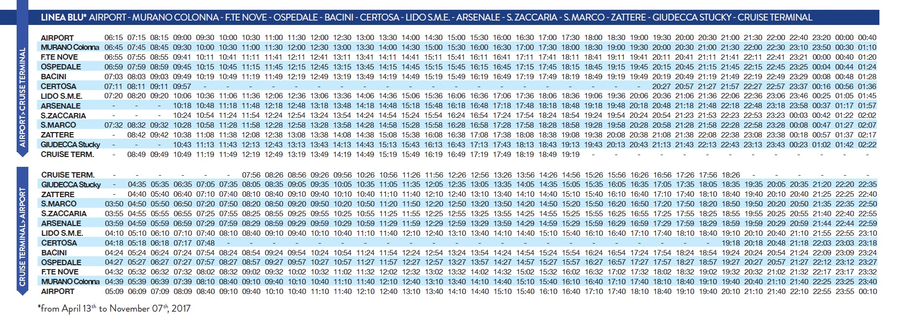 Linea Blu summer 2017 timetable